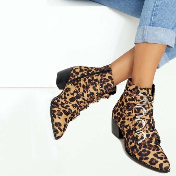 Boohoo Leopard Print Stud Detail Buckle